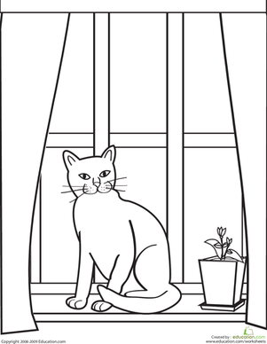 Preschool Coloring Worksheets: Color the Kitty in the Window