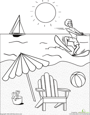 First Grade Holidays & Seasons Worksheets: Color the Beach Scene