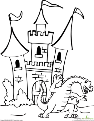 First Grade Coloring Worksheets: Dragon and Castle Coloring Page