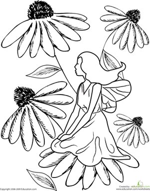 First Grade Coloring Worksheets: Color the Flower Fairy