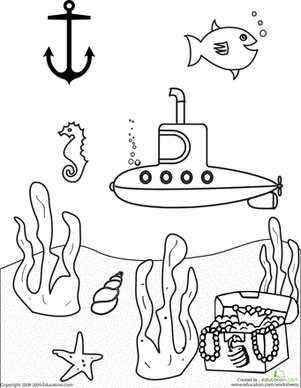 Kindergarten Coloring Worksheets: Color the Submarine Scene
