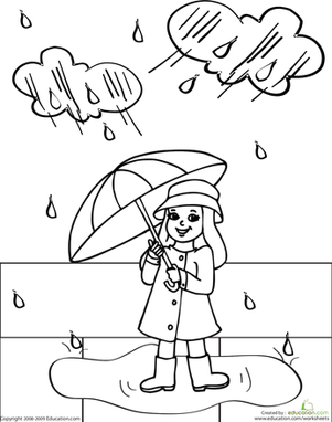 Kindergarten Coloring Worksheets: Color Rainy Day Rosie