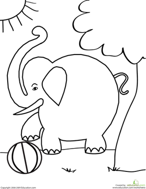 Preschool Coloring Worksheets: Color the Elephant