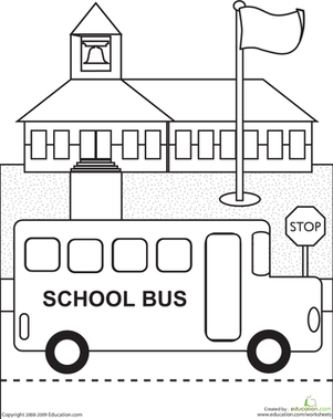Kindergarten Coloring Worksheets: Color the School Bus