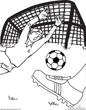 Kindergarten Coloring Worksheets: Soccer Game Coloring Page