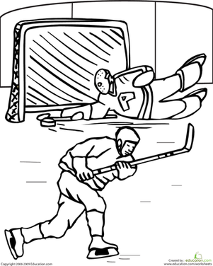 First Grade Coloring Worksheets: Color the Hockey Game