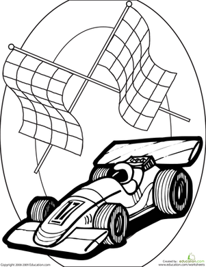 Second Grade Coloring Worksheets: Color the Race Car
