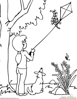 Kindergarten Coloring Worksheets: Color the Kite-Flying Scene