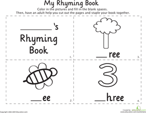 Kindergarten Reading & Writing Worksheets: My Rhyming Book: -Ee