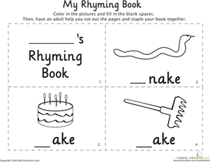 "Kindergarten Reading & Writing Worksheets: Rhymes with ""Take"""