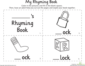 Kindergarten Reading & Writing Worksheets: My Rhyming Book: -Ock