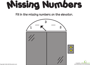Kindergarten Math Worksheets: Missing Numbers: 1-5