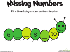 Kindergarten Math Worksheets: Missing Numbers: 5-10