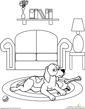 First Grade Coloring Worksheets: Color the Dog at Home