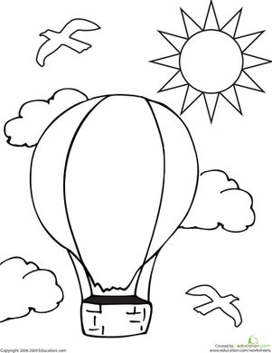 Preschool Coloring Worksheets: Color the Hot Air Balloon