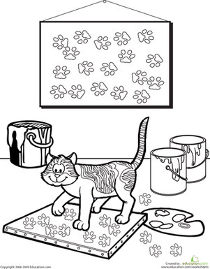 Second Grade Coloring Worksheets: Color the Painting Cat