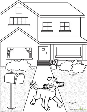 First Grade Coloring Worksheets: Color the Newspaper Dog