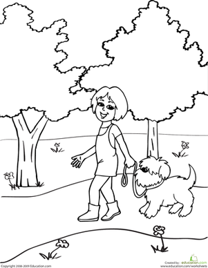 Kindergarten Coloring Worksheets: Color the Dog Walker