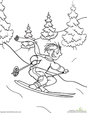 Kindergarten Holidays & Seasons Worksheets: Skier Coloring Page