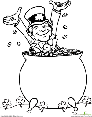 First Grade Holidays & Seasons Worksheets: Leprechaun Coloring Page