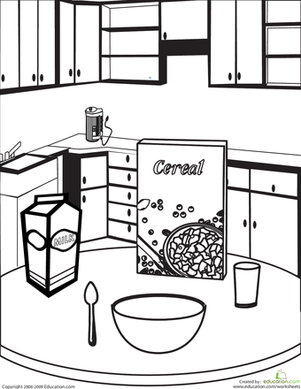 First Grade Coloring Worksheets: Color the Breakfast Table