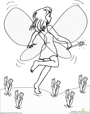 First Grade Coloring Worksheets: Color the Dancing Fairy