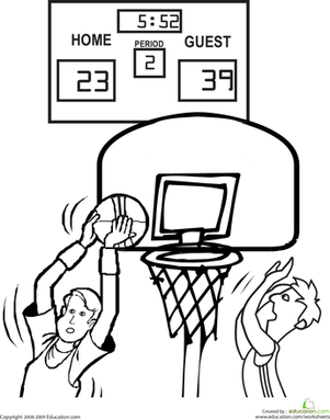 Kindergarten Coloring Worksheets: Basketball Coloring Page