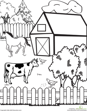 First Grade Coloring Worksheets: Farm Coloring Page