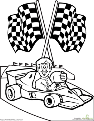 color the race car driver worksheet. Black Bedroom Furniture Sets. Home Design Ideas