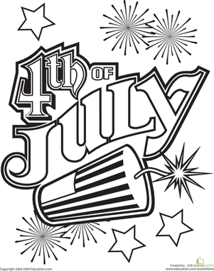 First Grade Holidays Worksheets: 4th of July Coloring Page