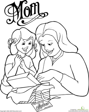 Kindergarten Holidays & Seasons Worksheets: Color the Mother's Day Moment
