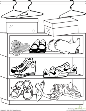 Second Grade Coloring Worksheets: Shoes Coloring Page