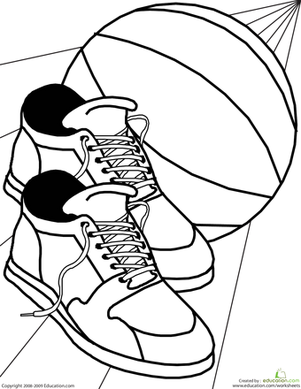 Kindergarten Coloring Worksheets: Color the Basketball Shoes