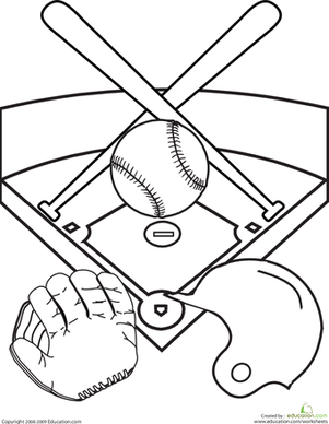 Kindergarten Coloring Worksheets: Color the Baseball Diamond