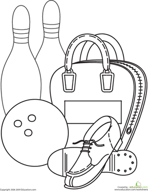 Kindergarten Coloring Worksheets: Bowling Coloring Page