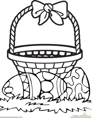 Kindergarten Holidays & Seasons Worksheets: Color the Easter Basket
