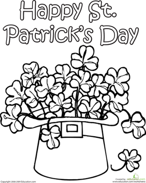 Second Grade Holidays Worksheets: Clover Coloring Page
