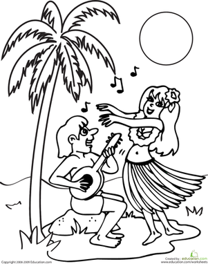 Second Grade Coloring Worksheets: Color the Hula Scene
