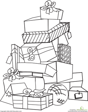 Second Grade Holidays & Seasons Worksheets: Presents Coloring Page
