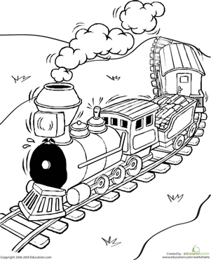 First Grade Coloring Worksheets: Color the Train