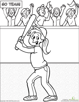 First Grade Coloring Worksheets: Color the Baseball Girl