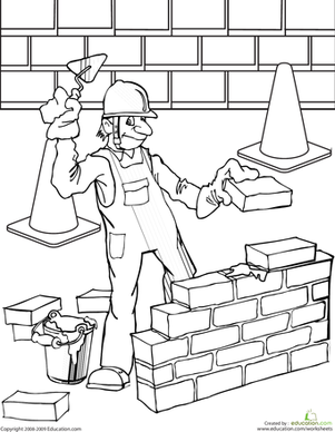 Second Grade Coloring Worksheets: Bricklayer Coloring Page