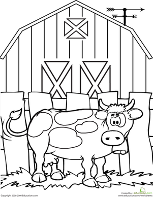 kindergarten coloring worksheets cow coloring page - Coloring Page For Kindergarten