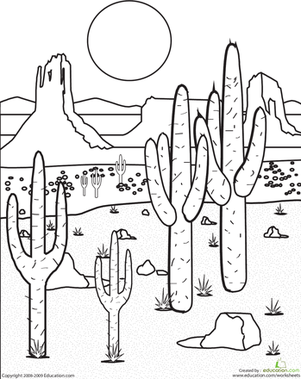 Second Grade Coloring Worksheets Color The Desert Landscape