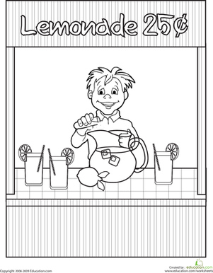 Second Grade Holidays & Seasons Worksheets: Color the Lemonade Stand