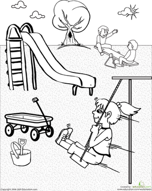 Color the Playground | Worksheet | Education.com