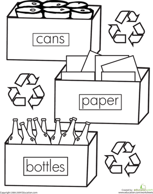 First Grade Coloring Worksheets: Color the Recycling