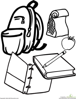 school stuff coloring pages - photo#10