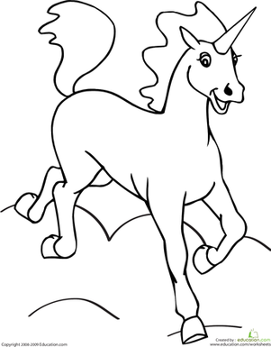 Preschool Coloring Worksheets: Color the Unicorn