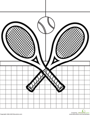 Kindergarten Coloring Worksheets: Color the Tennis Racquets